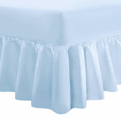 "25"" Extra Deep Fitted Valance Sheet Frilled Single - Sky Blue - 200 TC"