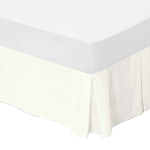 Double Bed Box Pleated Base Valance Cream - 200 TC Percale