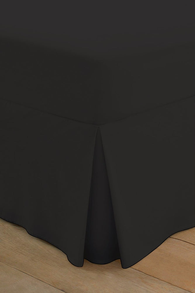 Double Box Pleated Fitted Valance Sheet Black 200 TC
