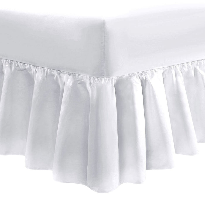 King Size Fitted Frilled Valance Sheet White 200 TC