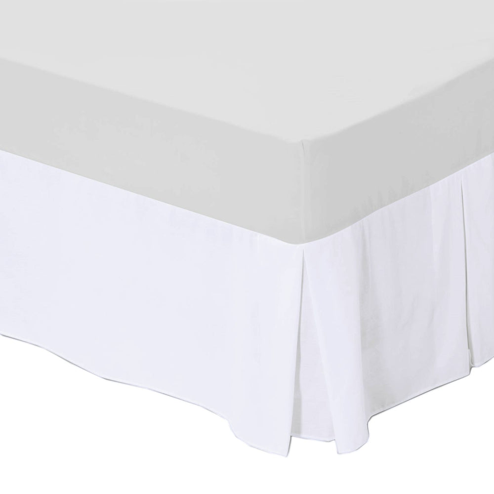 "White Bed Base Valance Superking Box Pleated Platform Divan with 16"" Drop"