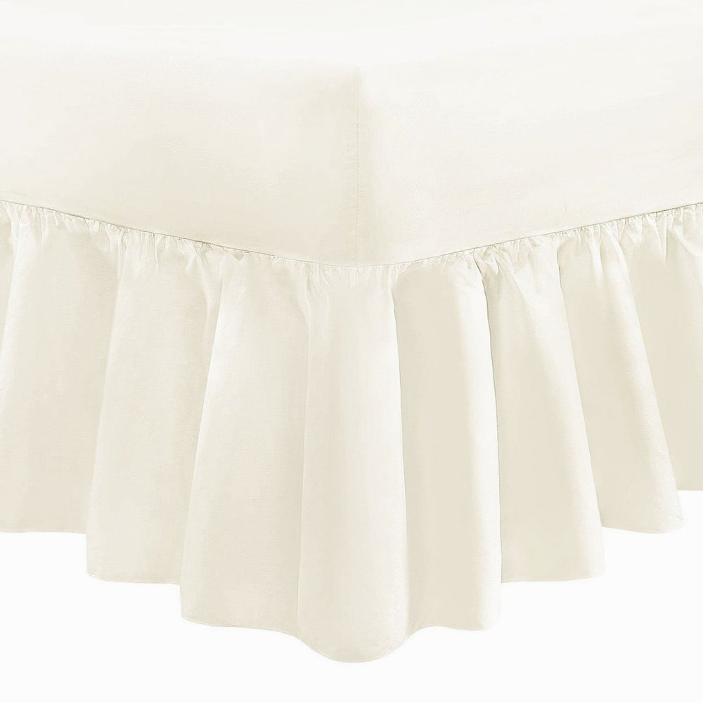 Extra Deep Super King Size Valance Sheet Frilled Cream 200 Tc