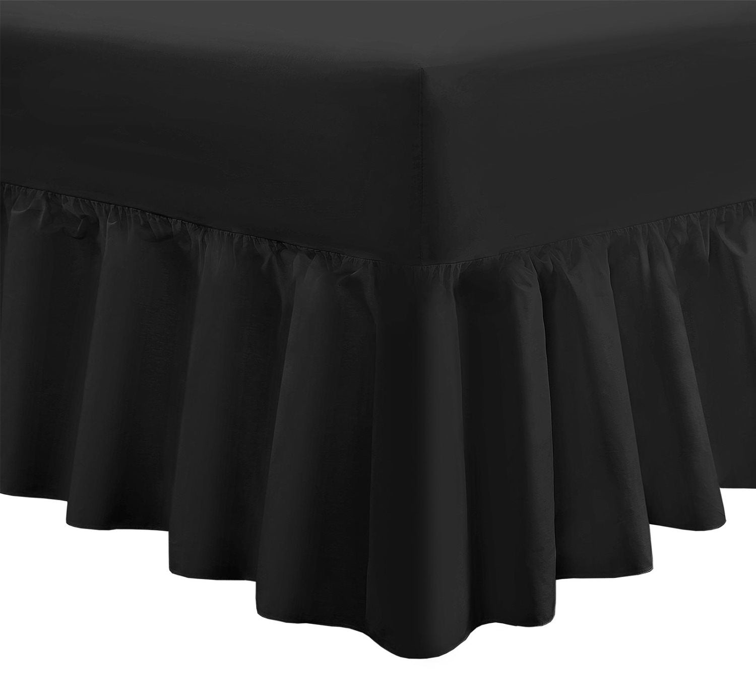 "28"" Extra Deep Fitted Frilled Valance Sheet Super King Black 200 TC"