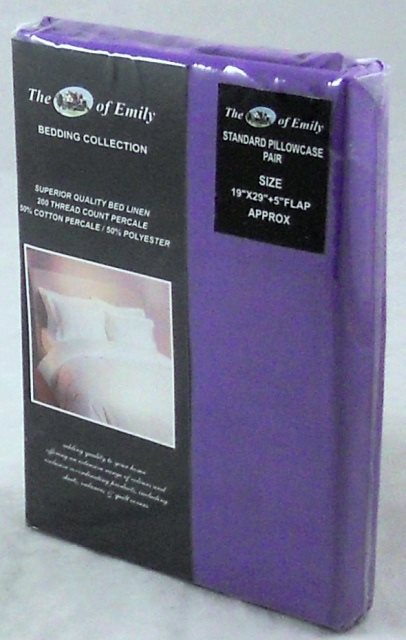 Purple Pillowcases Pack of 2 Standard Size Polycotton 200Tc
