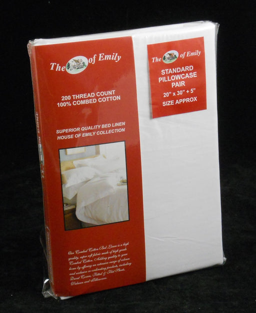 100% Cotton White Pillowcases Pair Set Standard Size 200 TC