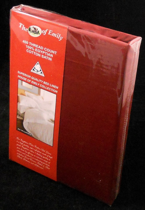 Egyptian Cotton Sateen Super King Pillowcase Pair Red 400 TC