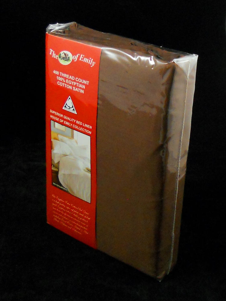 Super King Pillowcases 400Tc Egyptian Cotton Sateen Brown Pack of 2