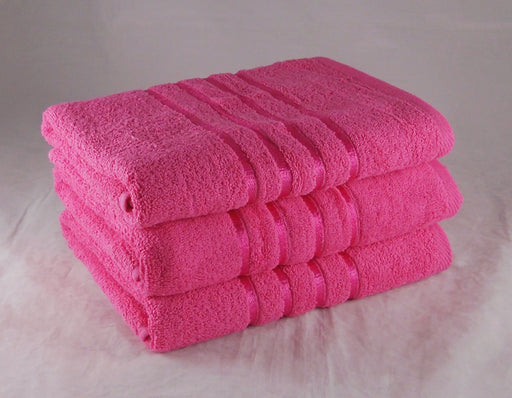 Striped Hand Towels Fuchsia Pink 100% Cotton 550gsm Pack of 6
