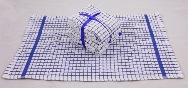 100% Cotton Mini Check Tea Towels - Pack of 5 - Blue & White