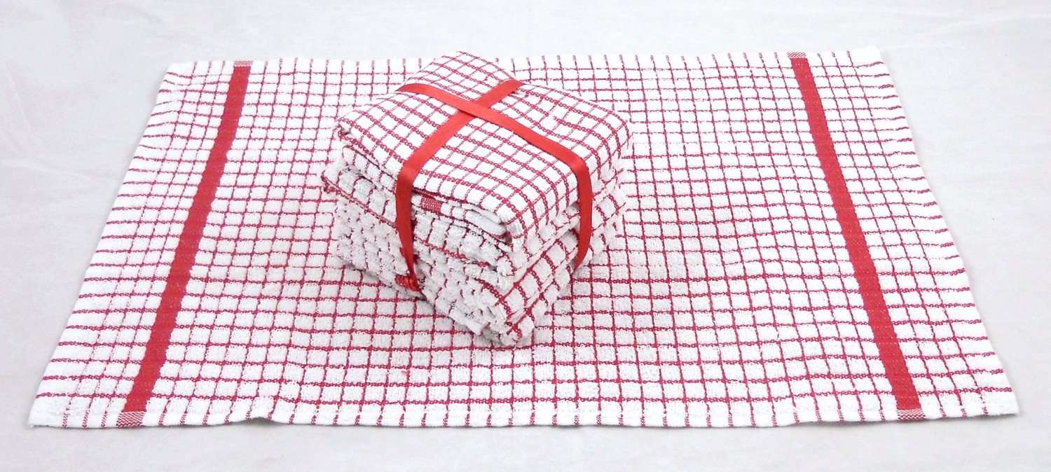 Red Tea Towels 100% Cotton Mini Check Pack of 5