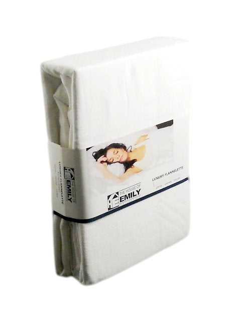 "Brushed Cotton Single Fitted Sheet Extra Deep 12"" Box White"