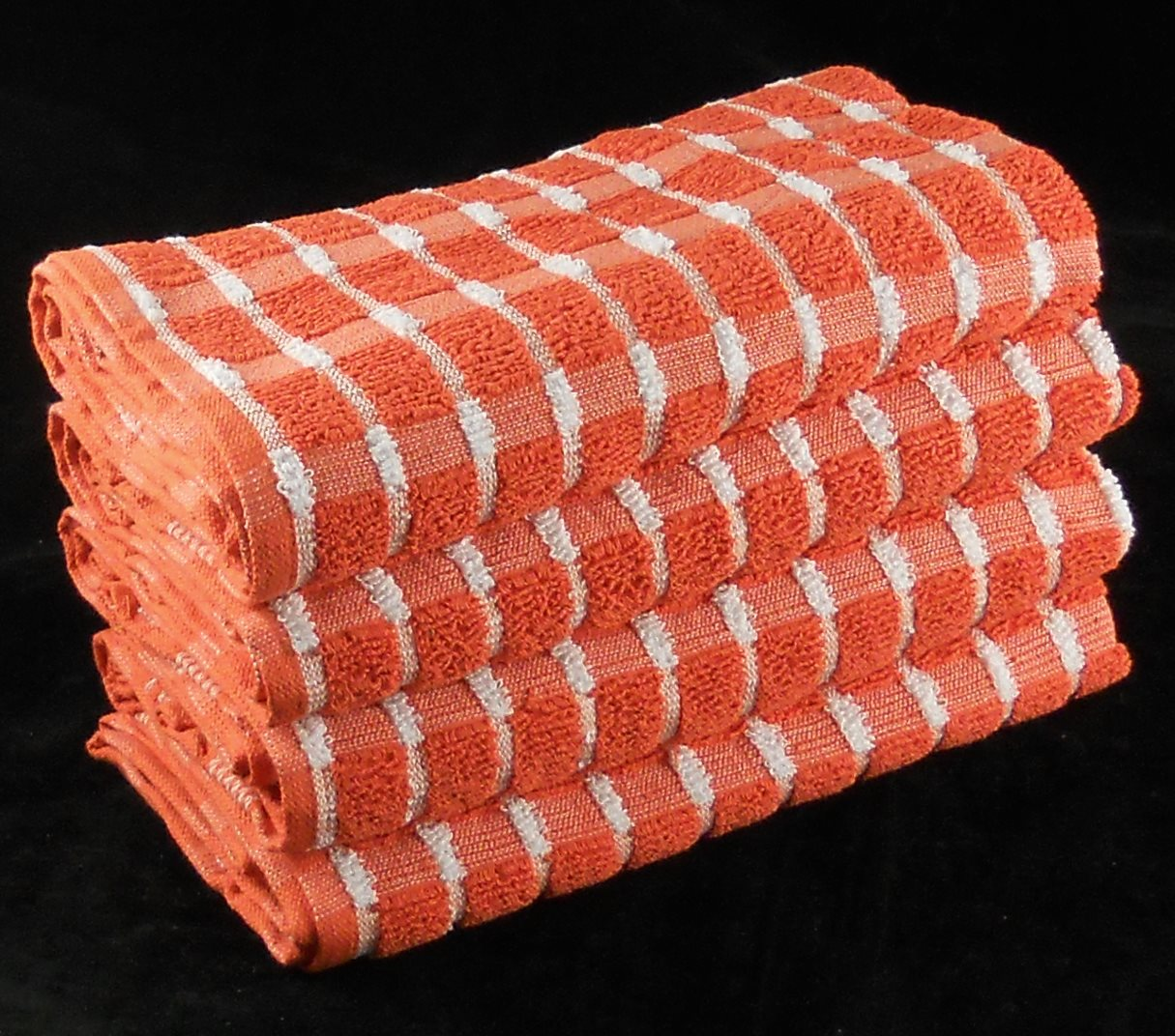 Extra Large Tea Towels Orange 100% Cotton Terry Pack of 4