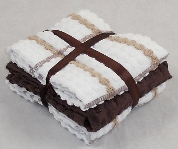 Chocolate Brown Tea Towels 100% Cotton Pack of 6