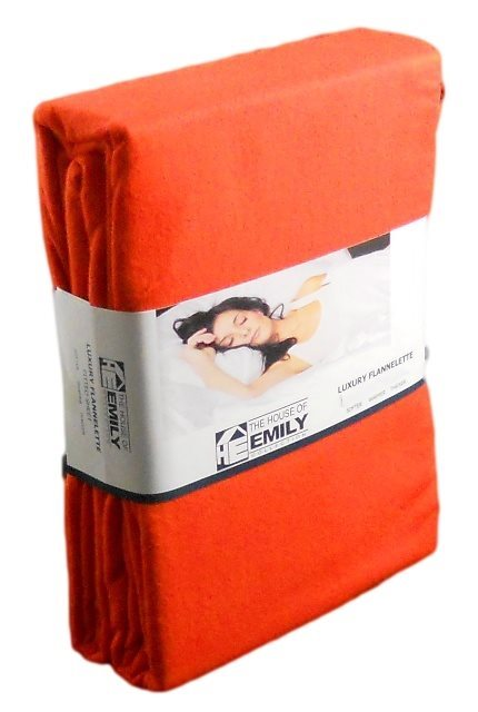 "4 FT Small Double Brushed Cotton Flannelette 12"" Extra Deep Fitted Sheet Flame Orange"