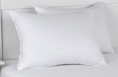 Hotel Quality Pillow Pair 100% Cotton Stripe Cover Hollowfibre Medium / Firm Support