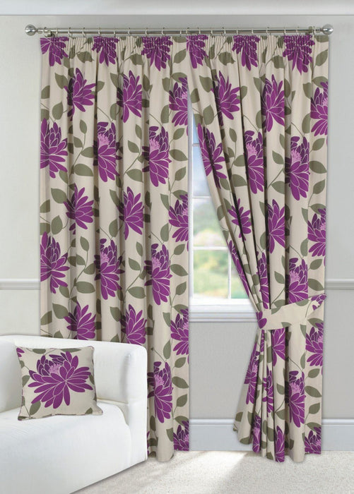"Wine Curtains 90"" x 90"" Pencil Pleated Fully Lined with Tiebacks"