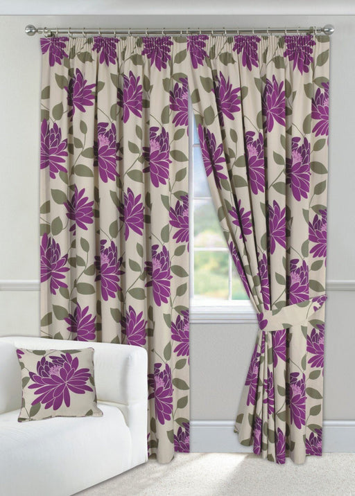 "Wine Curtains 90"" x 90"" Floral Design Fully Lined + 2 Tie Backs"