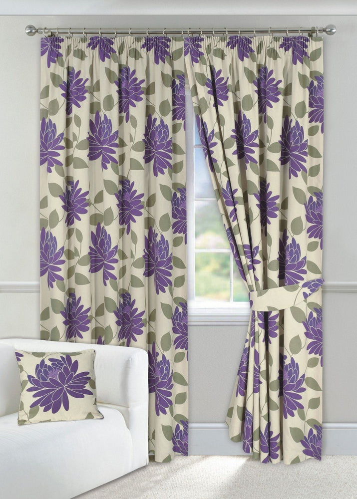 "Aubergine & Cream Curtains 90"" x 90"" Floral Design Fully Lined + 2 Tie Backs"