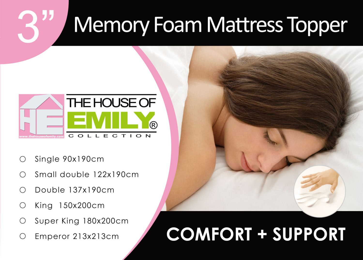 Large Emperor Memory Foam Mattress Topper 3 Inch with Cover