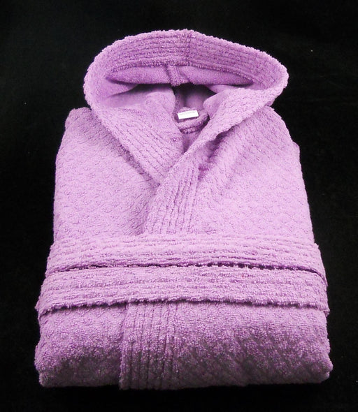 Lilac Terry Towelling Hooded Bath Robe Medium 100% Cotton Budget Quality (Slight Seconds)