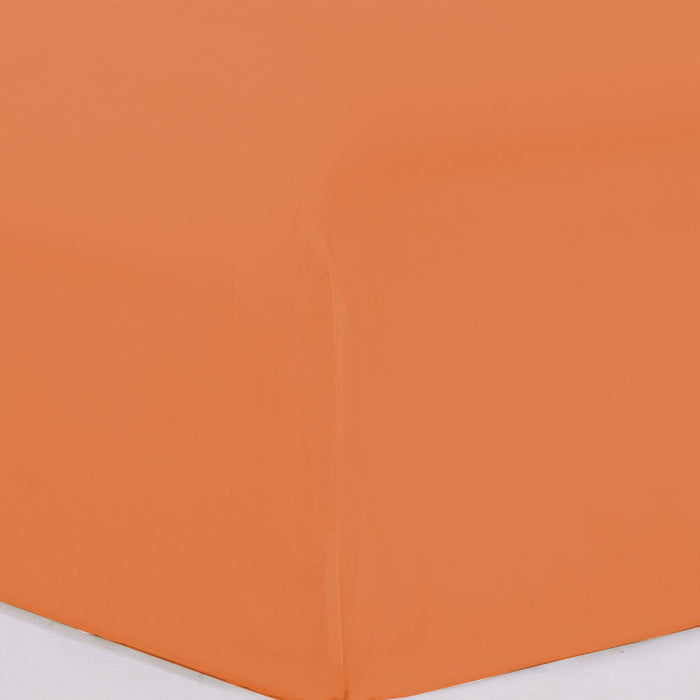 "Brushed Microfibre Fitted Sheet 12"" Extra Deep Superking Size Burnt Orange"