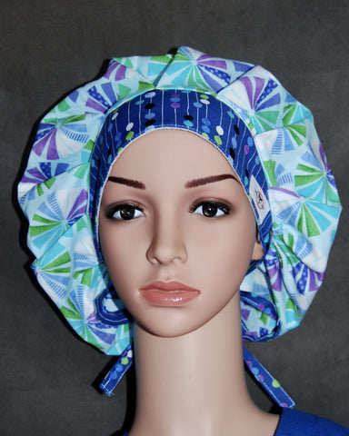 Women's Bouffant Scrub Hats with Ties and Sweatband