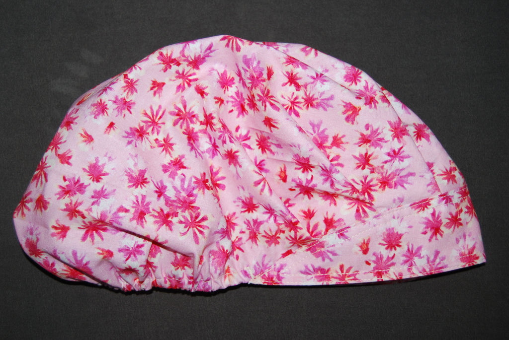 Butterflies and Flowers Bouffant Scrub Hat with Ties and Sweatband