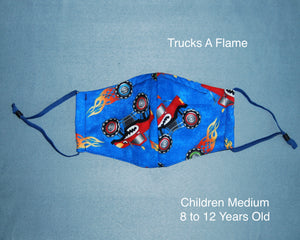 Trucks A Flame Children Face Mask