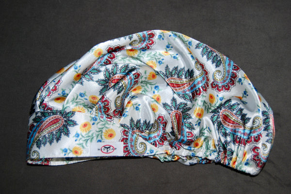 Paisley Poetry satin pleated Scrub Hat