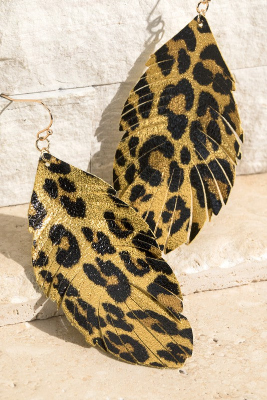 Metallic Leopard Print Earrings