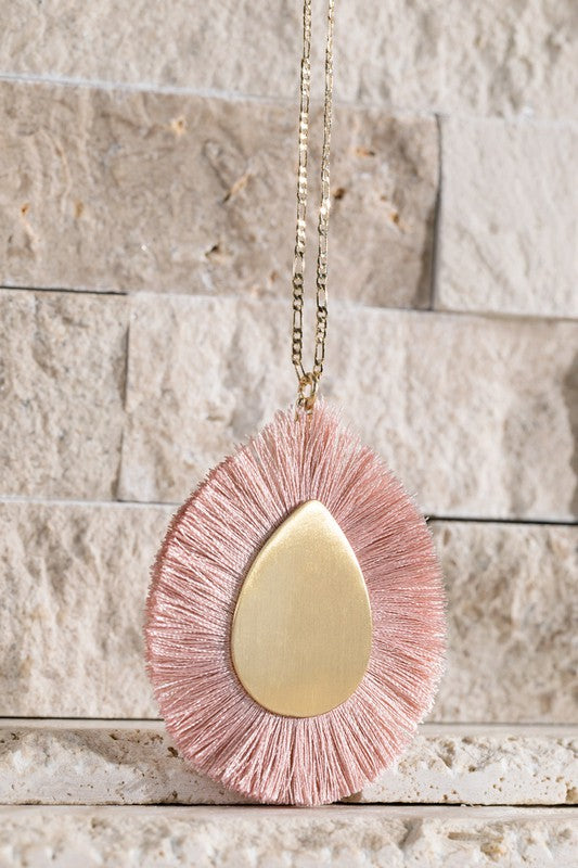 The Kelsey Pendant Necklace in Pink