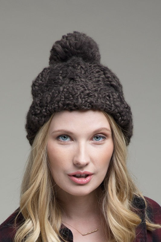 Pom Pom Beanie in Charcoal