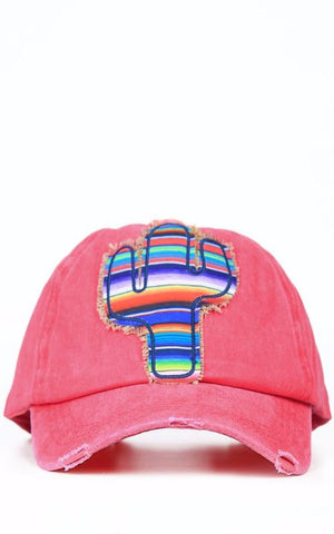 Serape Cactus Hat in Red