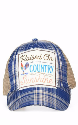 Raised On Country Sunshine Plaid Hat in Blue