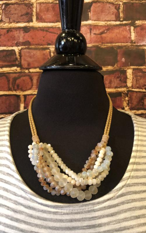 Free Spirit Beaded Necklace in Tan