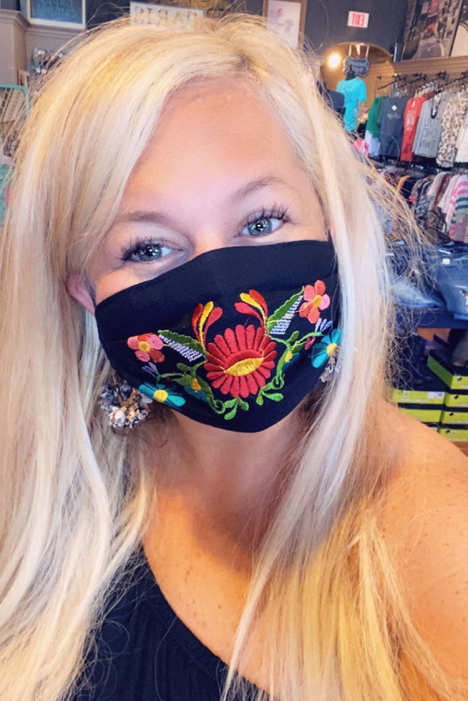 Bright Colored Embroidered Mask