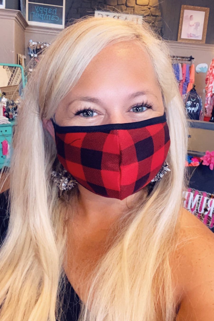 Black and Red Buffalo Plaid Mask