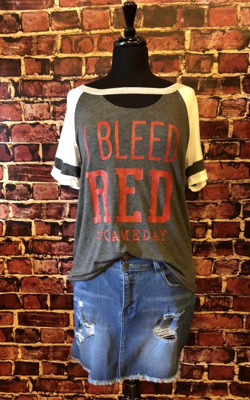 I Bleed Red Football Tee