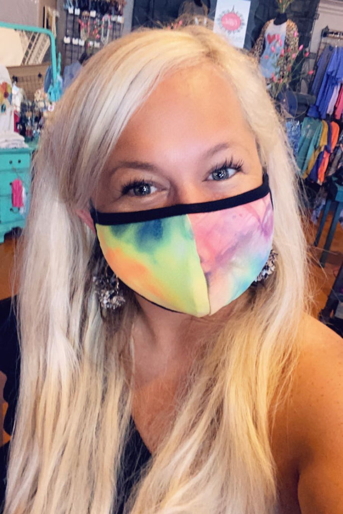 Tie Dye Mask with Black Border Mask