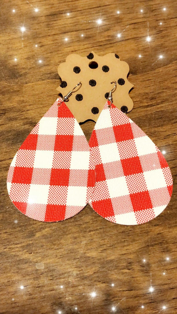 Red and White Earrings