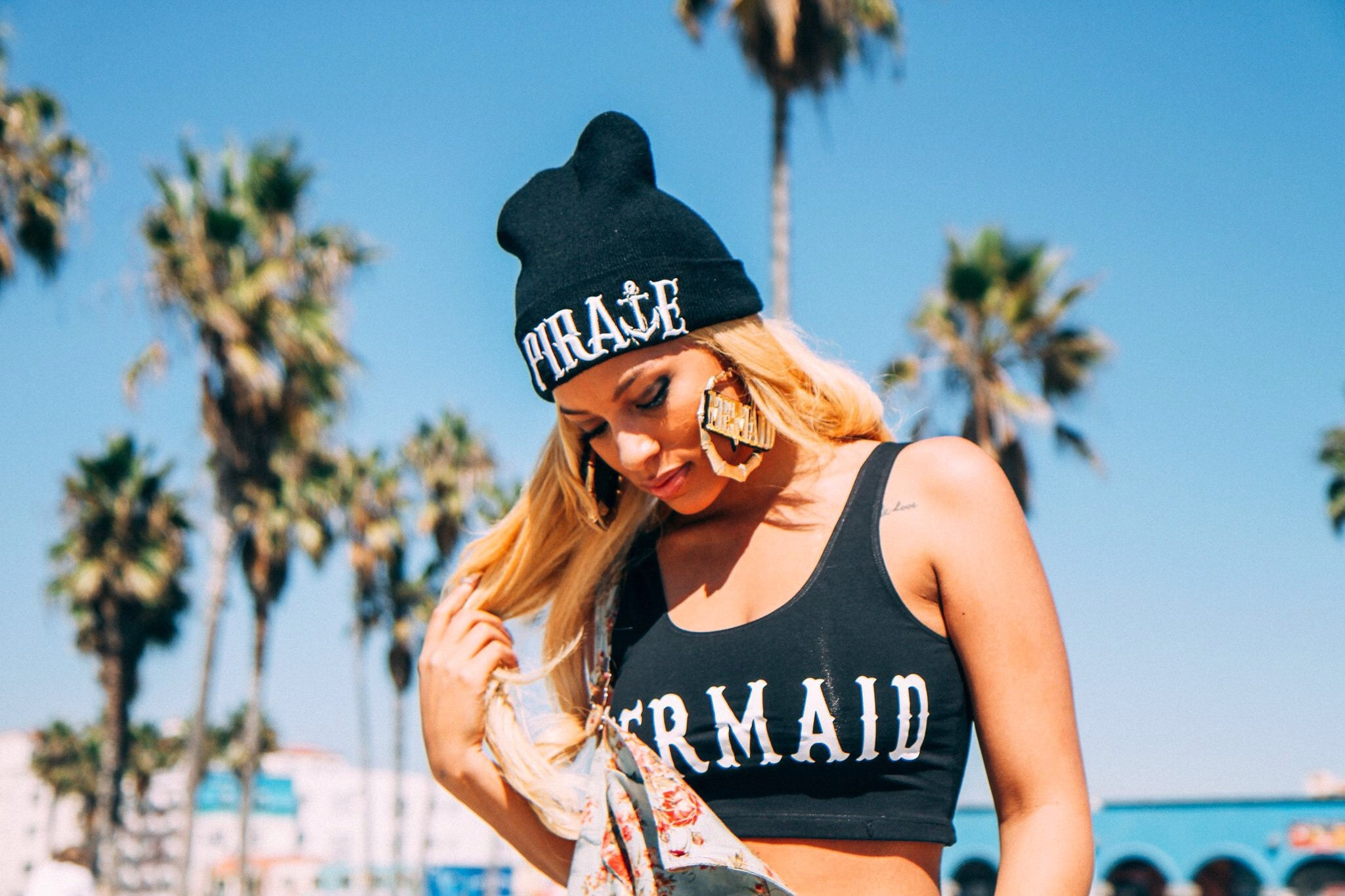 Black Mermaid Sporty Crop