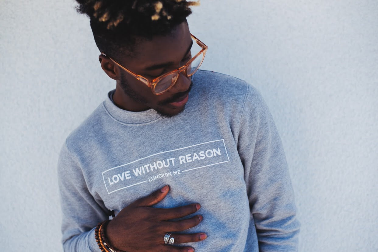 Love Without Reason Overcast Grey Crew Neck