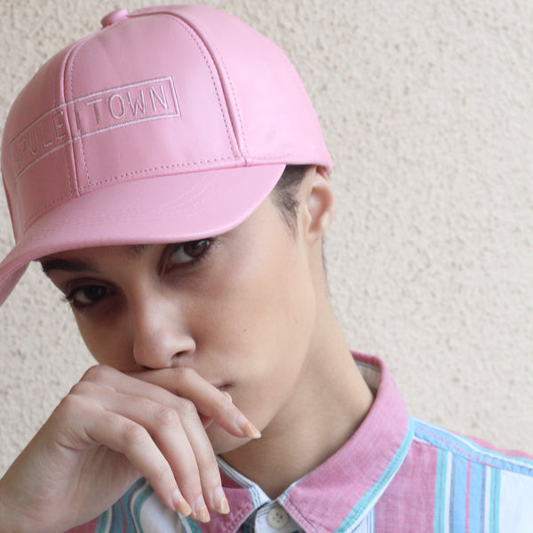 APULE 100% Leather Baseball Cap in Rose Water
