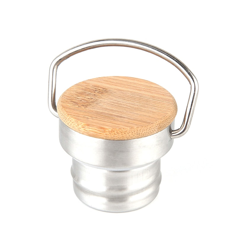Portable Stainless Steel Water Bottle Bamboo Lid