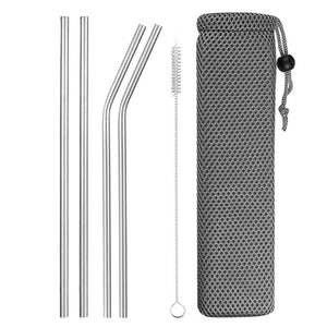 Reusable Stainless Steel Straws 3 Pcs With Brush & Carry Bag