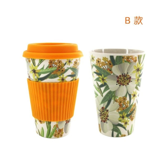 Reusable Eco-Friendly Wheat Straw Coffee Cup Print Design