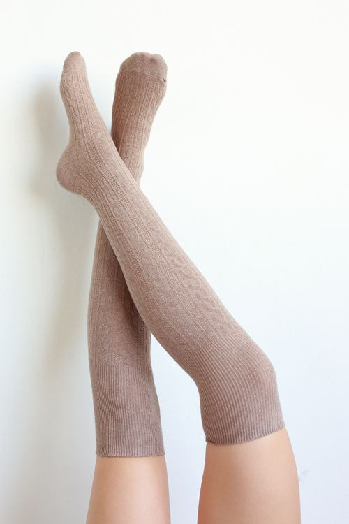 Affordable Online over the knee boot socks taupe