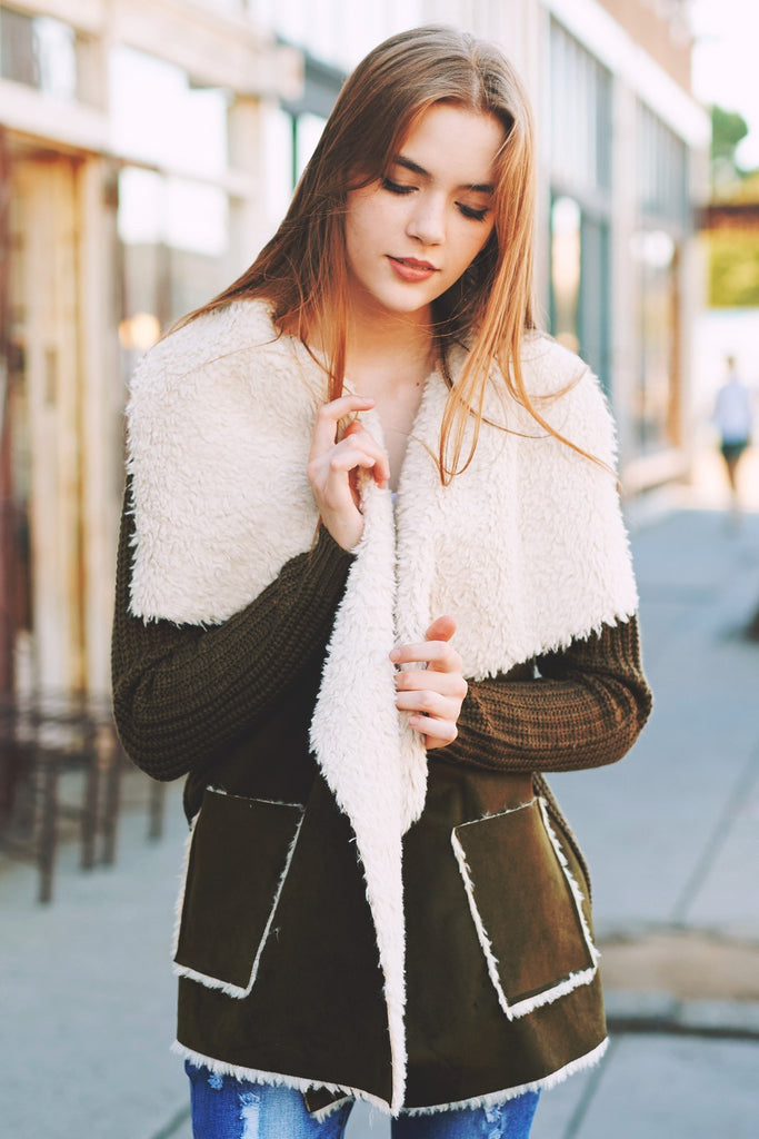 Affordable faux shearling knit jacket