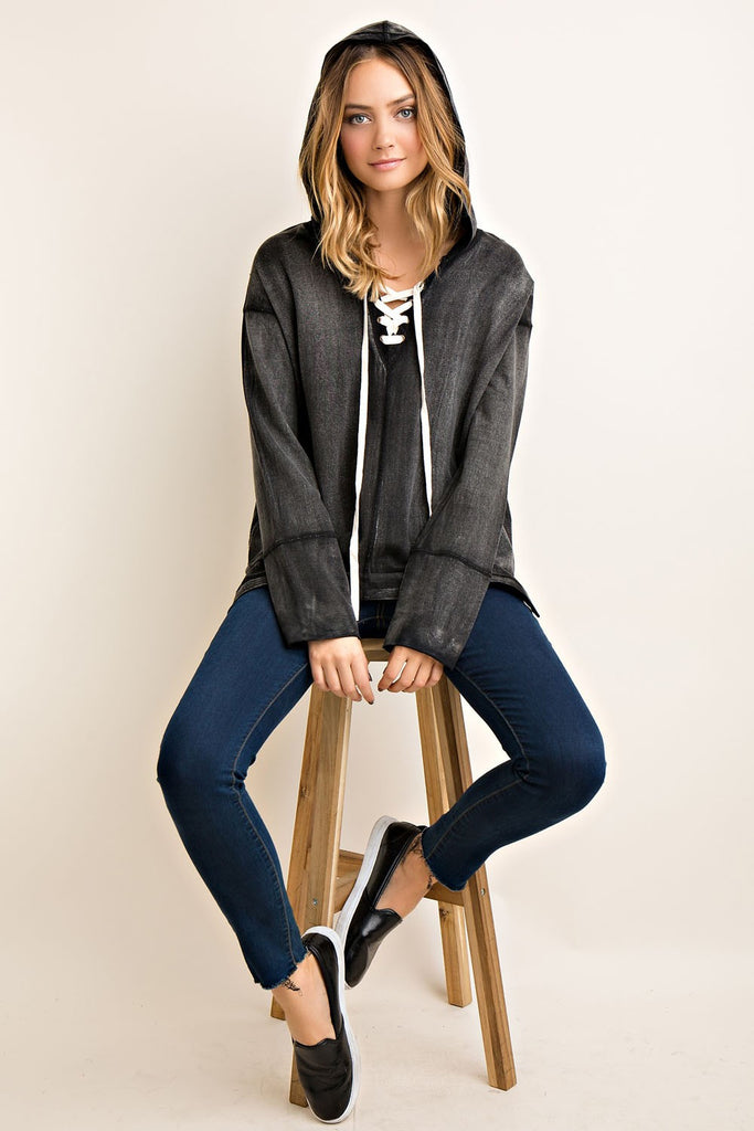 Colorado Chic stone washed lace up hoodie