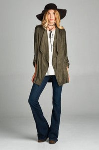 Affordable waterfall open jacket olive